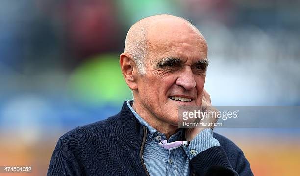 President Martin Kind of Hannover is pictured prior to the Bundesliga match between Hannover 96 and SC Freiburg at HDIArena on May 23 2015 in Hanover...