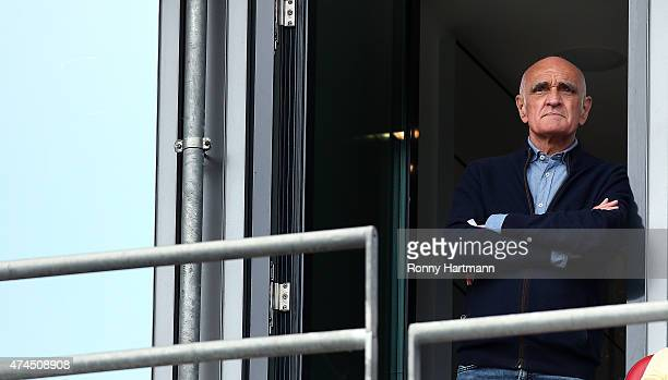 President Martin Kind of Hannover looks on prior to the Bundesliga match between Hannover 96 and SC Freiburg at HDIArena on May 23 2015 in Hanover...