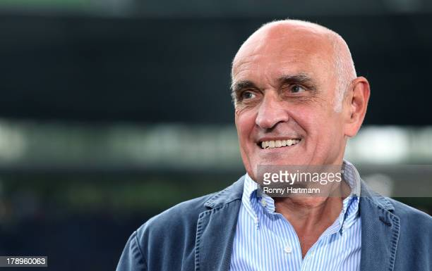 President Martin Kind of Hannover smiles prior to the Bundesliga match between Hannover 96 and 1 FSV Mainz 05 at HDI Arena on August 31 2013 in...