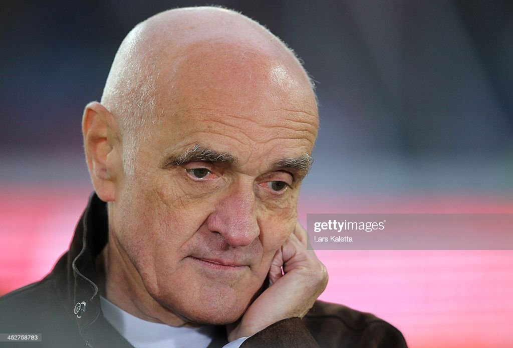 President Martin Kind of Hanover reacts prior the Bundesliga match between Hannover 96 and Eintracht Frankfurt at HDIArena on December 1 2013 in...