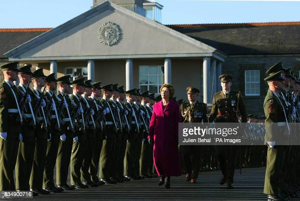 President Mary McAleese inspects the Guard of Honour drawn from the 2nd Infantry Battalion at Cathal Brugha Barracks Rathmines Dublin to mark the...