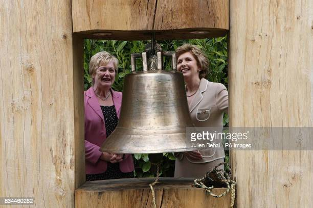President Mary McAleese unveils a Peace Bell with Flora Magee of the Derry Raphoe Action Cross Border Community Group in the grounds of at her...