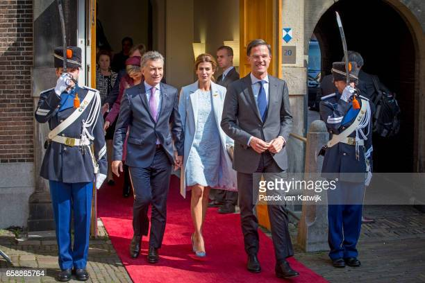 President Mauricio Macri and his wife Juliana Awada of Argentina visit Dutch prime minister Mark Rutte at The Binnenhof on March 28 2017 in The Hague...