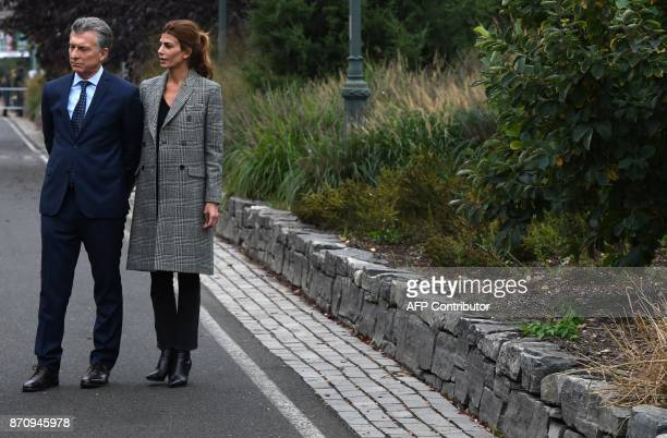 President Mauricio Macri of Argentina along with the First Lady of Argentina Juliana Awada look on as they attend a tribute to victims of the bike...