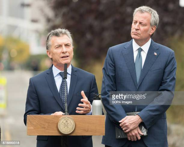 President Mauricio Macri of Argentina and New York City Mayor Bill de Blasio speaking for the tribute ceremony at the site of the October 31 truck...