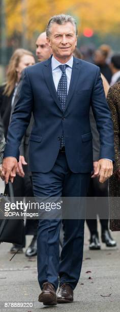 President Mauricio Macri of Argentina seen leaving after the tribute ceremony at the site of the October 31 truck attack on the bike path in lower...