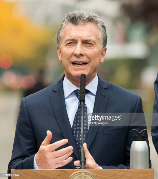 President Mauricio Macri of Argentina speaking for the tribute ceremony at the site of the October 31 truck attack on the bike path in lower Manhattan