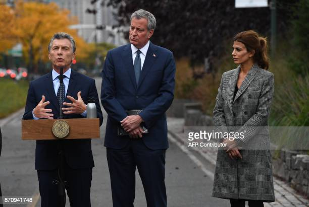 President Mauricio Macri of Argentina speaks as the First Lady of Argentina Juliana Awada and New York City Mayor Bill de Blasio look on during a...