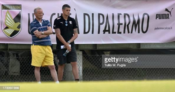 President Maurizio Zamparini and Igor Budan look on during a US Citta di Palermo preseason training session at Sportzentrum on July 13 2013 in Sankt...