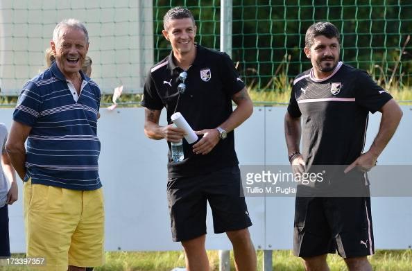 President Maurizio Zamparini Igor Budan and Coach Gennaro Gattuso look on during a US Citta di Palermo preseason training session at Sportzentrum on...