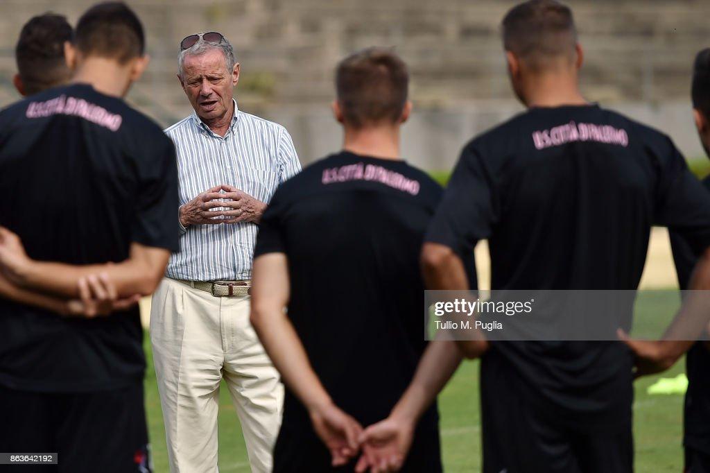 US Citta di Palermo President Maurizio Zamparini Visits Club Traning Ground