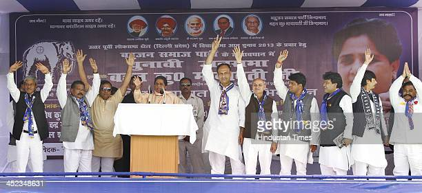 President Mayawati during an election rally to support party candidate in assembly election at Yamuna Vihar East Delhi on November 28 2013 in New...