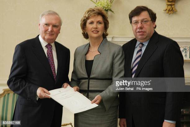 President McAleese appoints Dermot Gallagher as Chairman of the Garda Ombudsman Commission accompanied by Taoiseach Brian Cowen TD in Aras an...