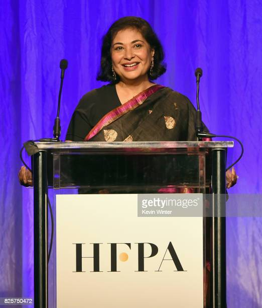 President Meher Tatna speaks onstage at the Hollywood Foreign Press Association's Grants Banquet at the Beverly Wilshire Four Seasons Hotel on August...