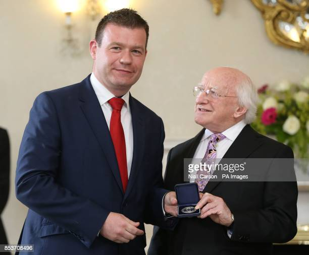 President Michael D Higgins congratulates Alan Kelly on his appointment as Environment Minister at Aras an Uachtarain Dublin following today's...