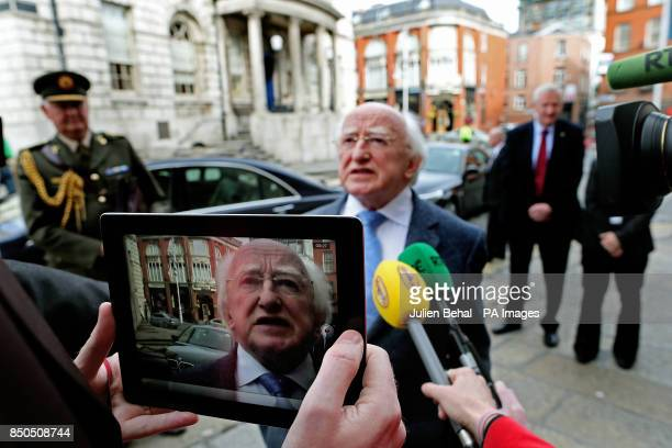 President Michael D Higgins speaks to the media as her arrives at City Hall in Dublin to present Biram Dah Abeid from Mauritania with his 2013 Front...