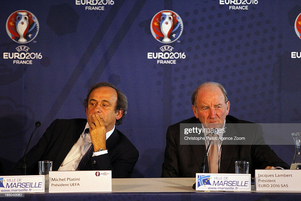 President Michel Platini and President of the Euro 2016 SAS Jacques Lambert during the EURO 2016 Steering Committee Meeting, on October 17, 2013 in Marseille, France.