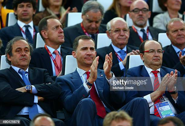President Michel Platini and Prince Felipe of Spain in the stands during the UEFA Europa League Final match between Sevilla FC and SL Benfica at...