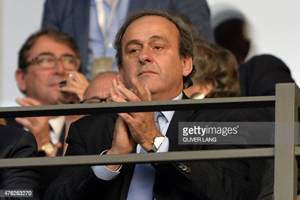 President Michel Platini applauds during the UEFA Champions League Final football match between Juventus Torino and FC Barcelona at the Olympic...