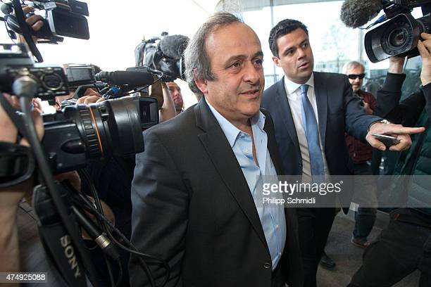 UEFA president Michel Platini arrives at a hotel prior to the 65th FIFA Congress at Hallenstadion on May 28 2015 in Zurich Switzerland