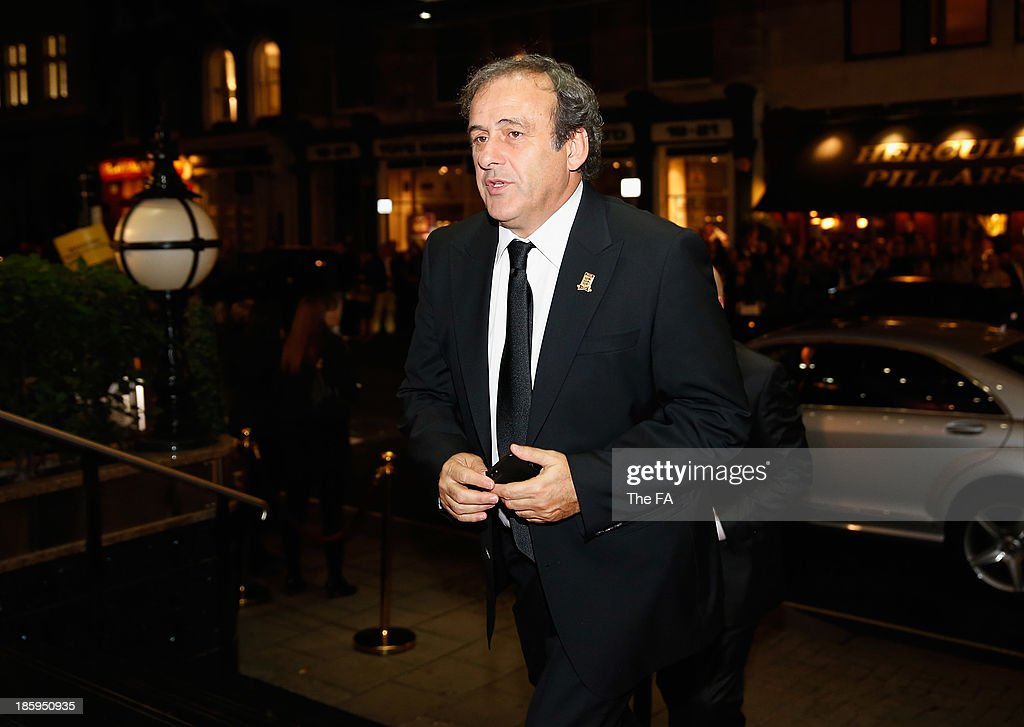 President <a gi-track='captionPersonalityLinkClicked' href=/galleries/search?phrase=Michel+Platini&family=editorial&specificpeople=206862 ng-click='$event.stopPropagation()'>Michel Platini</a> arrives during the FA150 Gala Dinner commemorating the Football Association's 150th year at the Grand Connaught Rooms on October 26, 2013 in London, England.