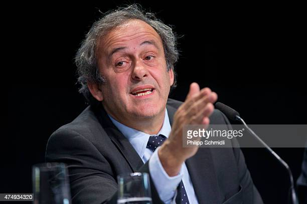 UEFA president Michel Platini attends a press conference prior to the 65th FIFA Congress at Hallenstadion on May 28 2015 in Zurich Switzerland