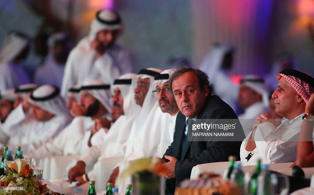 President <a gi-track='captionPersonalityLinkClicked' href=/galleries/search?phrase=Michel+Platini&family=editorial&specificpeople=206862 ng-click='$event.stopPropagation()'>Michel Platini</a> (2nd-R) attends the opening session of the 9th Dubai International Sports Conference on December 28, 2014 in Dubai. AFP PHOTO/MARWAN NAAMANI