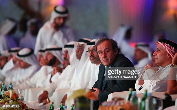 President Michel Platini attends the opening session of the 9th Dubai International Sports Conference on December 28 2014 in Dubai AFP PHOTO/MARWAN...