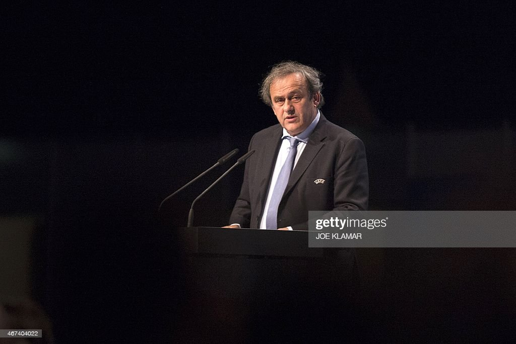 UEFA president <a gi-track='captionPersonalityLinkClicked' href=/galleries/search?phrase=Michel+Platini&family=editorial&specificpeople=206862 ng-click='$event.stopPropagation()'>Michel Platini</a> delivers his speech as he attends the Ordinary UEFA Congress in Vienna, Austria on March 24, 2015. The annual congress of European football's governing body is expected to focus on elections for UEFA Presidency, UEFA Executive Committee and FIFA Executive Committee.