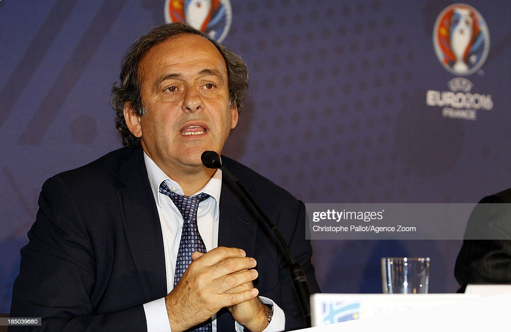 UEFA president <a gi-track='captionPersonalityLinkClicked' href=/galleries/search?phrase=Michel+Platini&family=editorial&specificpeople=206862 ng-click='$event.stopPropagation()'>Michel Platini</a> during the EURO 2016 Steering Committee Meeting, on October 17, 2013 in Marseille, France.