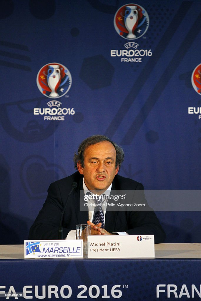 UEFA president Michel Platini during the EURO 2016 Steering Committee Meeting, on October 17, 2013 in Marseille, France.