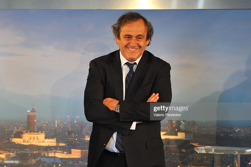 President <a gi-track='captionPersonalityLinkClicked' href=/galleries/search?phrase=Michel+Platini&family=editorial&specificpeople=206862 ng-click='$event.stopPropagation()'>Michel Platini</a> during the UEFA Europa League trophy handover ceremony at Palazzo Madama on April 16, 2014 in Turin, Italy.