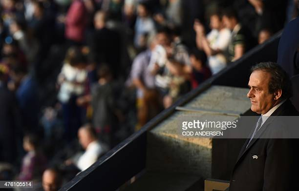 President Michel Platini is seen prior to the UEFA Champions League Final football match between Juventus and FC Barcelona at the Olympic Stadium in...