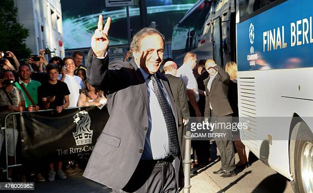 UEFA president Michel Platini leaves the RitzCarlton hotel in Berlin on June 5 on the eve of the UEFA Champions League Final football match between...