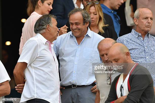 President Michel Platini looks on during the preseason friendly match between Olympique de Marseille and Juventus FC at Stade Velodrome on August 1...