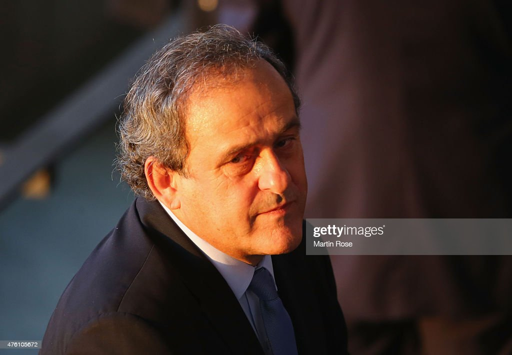 President <a gi-track='captionPersonalityLinkClicked' href=/galleries/search?phrase=Michel+Platini&family=editorial&specificpeople=206862 ng-click='$event.stopPropagation()'>Michel Platini</a> looks on prior to the UEFA Champions League Final between Juventus and FC Barcelona at Olympiastadion on June 6, 2015 in Berlin, Germany.