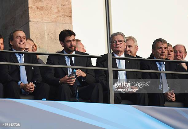 President Michel Platini looks on with Juventus President Andrea Agnelli German Football Association President Wolfgang Niersbach and Joachim Gauck...