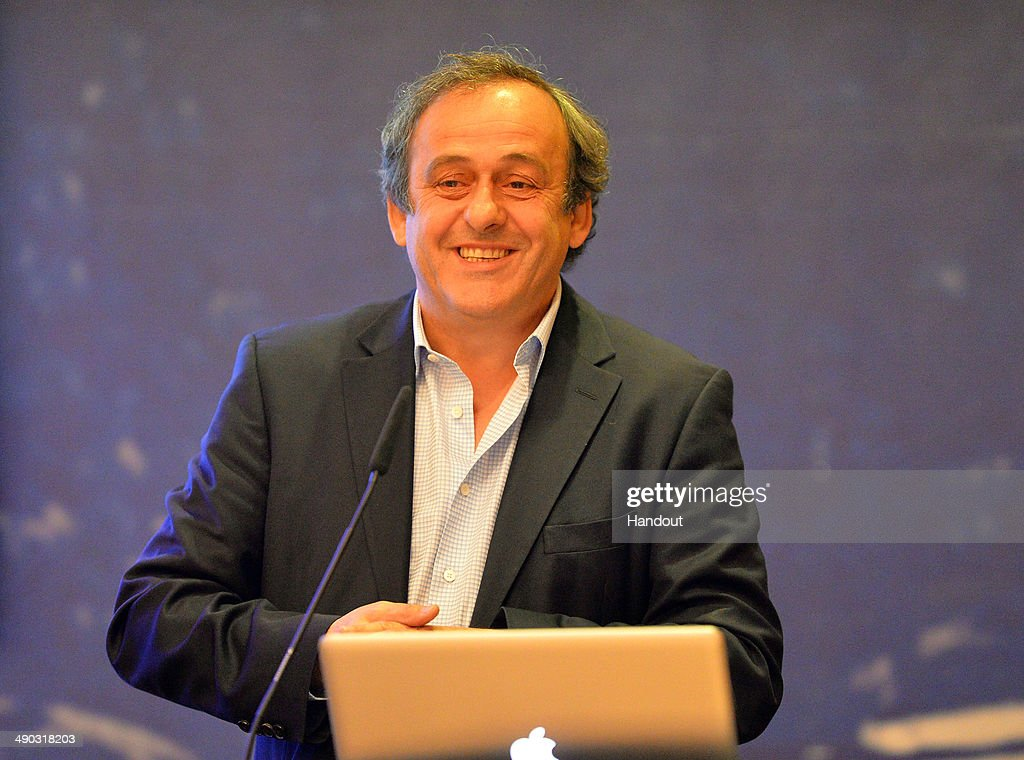 President Michel Platini makes a presentation to the media about the use of additional officials at matches prior to the UEFA Europa League Final between Sevilla FC and SL Benfica at Juventus Arena on May 14, 2014 in Turin, Italy.
