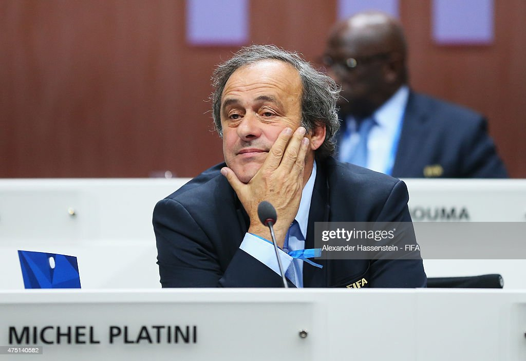 President Michel Platini of France looks on after Joseph S. Blatter was re-elected as FIFA President after Presidential candidate H.R.H Prince Ali Bin Al Hussein of Jordan withdrew from the second vote during the 65th FIFA Congress at the Hallenstadion on May 29, 2015 in Zurich, Switzerland.