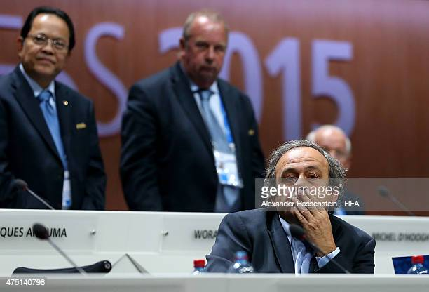 President Michel Platini of France looks on after Joseph S Blatter was reelected as FIFA President after Presidential candidate HRH Prince Ali Bin Al...