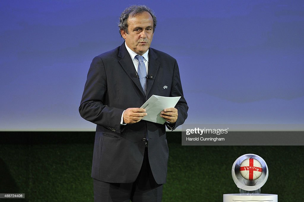 President <a gi-track='captionPersonalityLinkClicked' href=/galleries/search?phrase=Michel+Platini&family=editorial&specificpeople=206862 ng-click='$event.stopPropagation()'>Michel Platini</a> proceeds to the UEFA EURO 2020 Host Cities & Final announcement ceremony held at Espace Hippomene on September 19, 2014 in Geneva, Switzerland.