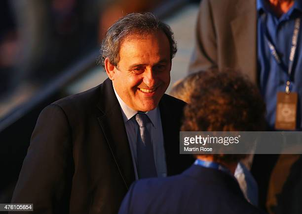 President Michel Platini smiles prior to the UEFA Champions League Final between Juventus and FC Barcelona at Olympiastadion on June 6 2015 in Berlin...