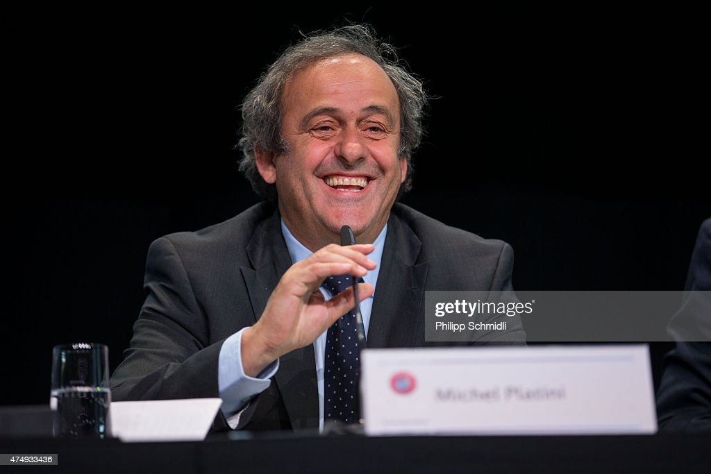 UEFA president Michel Platini speaks during a press conference prior to the 65th FIFA Congress at Hallenstadion on May 28, 2015 in Zurich, Switzerland.