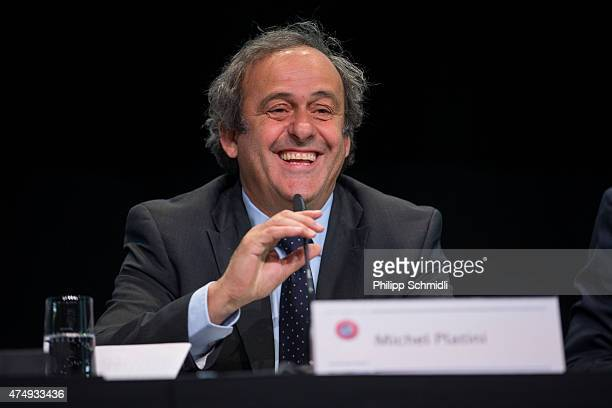 UEFA president Michel Platini speaks during a press conference prior to the 65th FIFA Congress at Hallenstadion on May 28 2015 in Zurich Switzerland