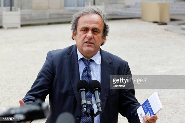 President Michel Platini speaks to the media after a lunch with French President Francois Hollande for the UEFA EURO 2016 launch at the Elysee Palace...