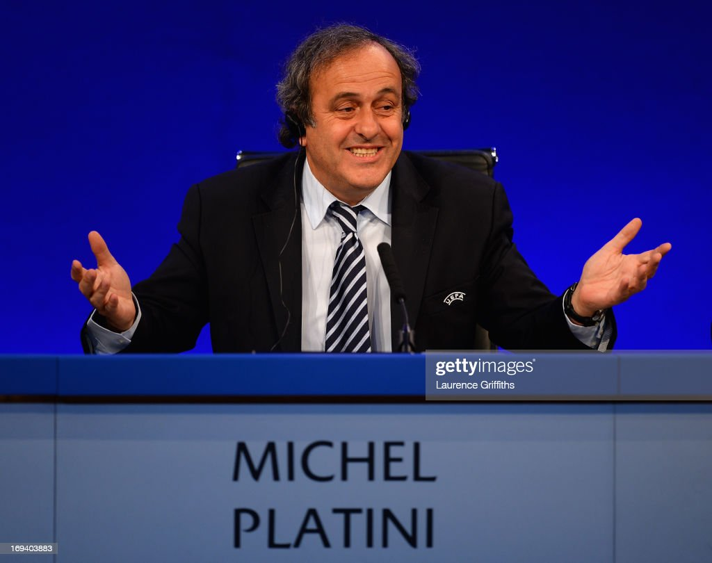 President <a gi-track='captionPersonalityLinkClicked' href=/galleries/search?phrase=Michel+Platini&family=editorial&specificpeople=206862 ng-click='$event.stopPropagation()'>Michel Platini</a> speaks to the media during a Press Conference at the XXXVII Ordinary UEFA Congress at the Grovesnor House Hotel on May 24, 2013 in London, United Kingdom.