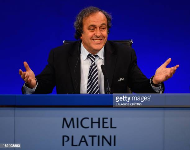 President Michel Platini speaks to the media during a Press Conference at the XXXVII Ordinary UEFA Congress at the Grovesnor House Hotel on May 24...