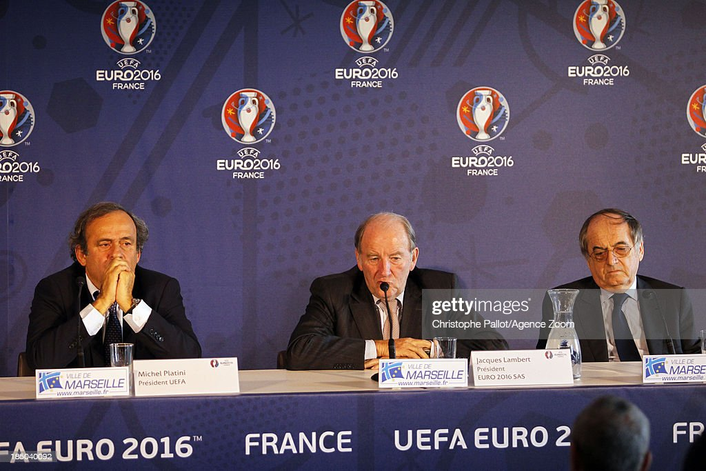 President Michel Platini with President of the Euro 2016 SAS Jacques Lambert, President of the French Football Federation Noel le Graet during the EURO 2016 Steering Committee Meeting, on October 17, 2013 in Marseille, France.