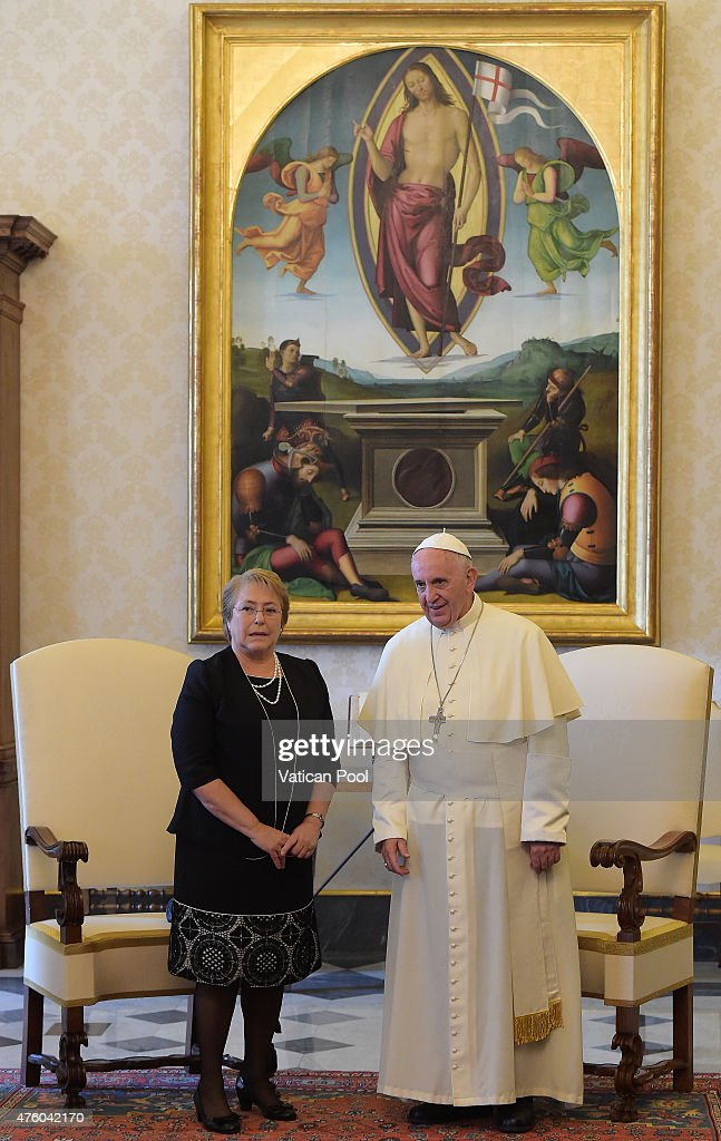 President <a gi-track='captionPersonalityLinkClicked' href=/galleries/search?phrase=Michelle+Bachelet&family=editorial&specificpeople=547978 ng-click='$event.stopPropagation()'>Michelle Bachelet</a> Jeria of Chile meets with <a gi-track='captionPersonalityLinkClicked' href=/galleries/search?phrase=Pope+Francis&family=editorial&specificpeople=2499404 ng-click='$event.stopPropagation()'>Pope Francis</a> during an audience at the Apostolic Palace on June 5, 2015 in Vatican City, Vatican. <a gi-track='captionPersonalityLinkClicked' href=/galleries/search?phrase=Pope+Francis&family=editorial&specificpeople=2499404 ng-click='$event.stopPropagation()'>Pope Francis</a> will be in Sarajevo tomorrow for a one day visit, focused on the themes of peace and reconciliation, comes 18 years after Pope John Paul II visited the capital of Bosnia-Herzegovina that had recently emerged from the longest siege in the history of modern warfare.