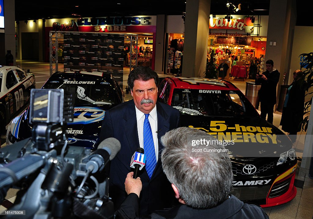 President <a gi-track='captionPersonalityLinkClicked' href=/galleries/search?phrase=Mike+Helton+-+Racing+Executive&family=editorial&specificpeople=226522 ng-click='$event.stopPropagation()'>Mike Helton</a> is interviewed during the Road to Daytona Fueled By Sunoco at CNN Center on February 11, 2013 in Atlanta, Georgia.